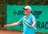 Hilversum, The Netherlands,  August 18, 2020,  Tulip Tennis Center, NKS, National Senior Championships, Men's single 80+  Peter Buter (NED) celebrates his win.<br /> Photo: www.tennisimages.com/Henk Koster