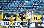 Kopfballduell zwischen beiden Innenverteidiger Jesper Verlaat (SV Waldhof Mannheim, #4) und Bjoern Paulsen (FC Ingolstadt, #4) beim Spiel in der 3. Liga, SV Waldhof Mannheim - FC Ingolstadt.<br /> <br /> Foto © PIX-Sportfotos *** Foto ist honorarpflichtig! *** Auf Anfrage in hoeherer Qualitaet/Aufloesung. Belegexemplar erbeten. Veroeffentlichung ausschliesslich fuer journalistisch-publizistische Zwecke. For editorial use only. DFL regulations prohibit any use of photographs as image sequences and/or quasi-video.