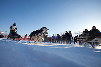 Zachary Sky leaves the start line of the Junior Iditarod  at Knik Lake, Knik, Alaska