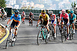 The lead group with Spanish Champion Alejandro Valverde (ESP) Movistar, Primoz Roglic (SLO) Jumbo-Visma, David Gaudu (FRA) Groupama-FDJ, Michael Woods (CAN) EF and Jakob Fuglsang (DEN) Astana during the 113th edition of Il Lombardia 2019 running 243km from Bergamo to Como, Italy. 12th Octobre 2019. <br /> Picture: Fabio Ferrari/LaPresse | Cyclefile<br /> <br /> All photos usage must carry mandatory copyright credit (© Cyclefile | LaPresse/Fabio Ferrari)