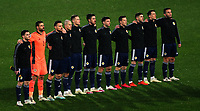 12th November 2020; Belgrade, Serbia; European International Football Playfoff Final, Serbia versus Scotland;  Scotland team stands for their anthem :Andrew Robertson, David Marshall, Stephen O Donnell, Lyndon Dykes, Scott McTominay, Declan Gallagher, Kieran Tierney, Callum McGregor, Ryan Jack, John McGinn