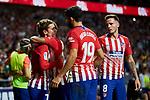 Atletico de Madrid's Antoine Griezmann (l), Diego Costa (c) and Saul Niguez (r) celebrate goal during La Liga match. August 25, 2018. (ALTERPHOTOS/A. Perez Meca)