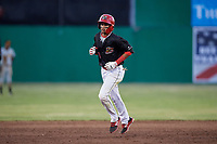 Batavia Muckdogs second baseman Gerardo Nunez (1) runs the bases during a game against the West Virginia Black Bears on June 20, 2018 at Dwyer Stadium in Batavia, New York.  West Virginia defeated Batavia 4-3.  (Mike Janes/Four Seam Images)