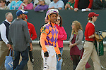 Jockey Ricardo Santana, Jr. watching the tote board after an objection during the running of the Honeybee Stakes (Grade III) at Oaklawn Park in Hot Springs, Arkansas-USA on March 8, 2014. (Credit Image: © Justin Manning/Eclipse/ZUMAPRESS.com)