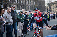 former MSR winner John DEGENKOLB (DEU/Trek-Segafredo) greeting fans at the start<br /> <br /> 110th Milano-Sanremo 2019 (ITA)<br /> One day race from Milano to Sanremo (291km)<br /> <br /> ©kramon