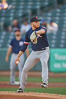 Tacoma Rainiers starting pitcher Vinny Nittoli (6) delivers a pitch to the plate against the Salt Lake Bees  at Smith's Ballpark on May 13, 2021 in Salt Lake City, Utah. The Rainiers defeated the Bees 15-5. (Stephen Smith/Four Seam Images)
