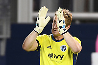 KANSAS CITY, UNITED STATES - AUGUST 25: Goalkeeper Tim Melia #29 of Sporting Kansas City applauds the home fans  a game between Houston Dynamo and Sporting Kansas City at Children's Mercy Park on August 25, 2020 in Kansas City, Kansas.