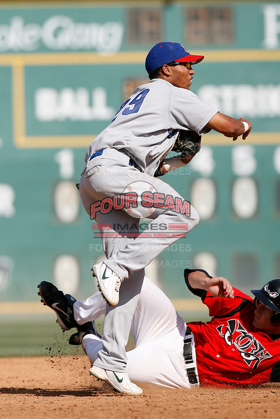 Frank Martinez of the Stockton Ports during a California League baseball game on April 29, 2007 at The Diamond in Lake Elsinore, California. (Larry Goren/Four Seam Images)