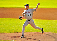 22 June 2009: Tri-City ValleyCats' pitcher David Duncan on the mound against the Vermont Lake Monsters at Historic Centennial Field in Burlington, Vermont. The Lake Monsters defeated the visiting ValleyCats 5-4 in extra innings. Mandatory Photo Credit: Ed Wolfstein Photo