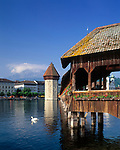 Schweiz, Kanton Luzern, Luzern an der Reuss: Kapellbruecke mit Wasserturm | Switzerland, Canton Lucerne, City Lucerne at river Reuss: Chapel Bridge with Water Tower