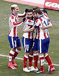Atletico de Madrid's Antoine Griezmann, Gabi Fernandez, Arda Turan and Saul Niguez celebrate goal during La Liga match.February 7,2015. (ALTERPHOTOS/Acero)