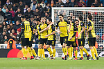 #23 Borussia Dortmund Midfielder Shinji Kagawa (C) celebrating a score with his teammates during the Europe Champions League 2017-18 match between Real Madrid and Borussia Dortmund at Santiago Bernabeu Stadium on 06 December 2017 in Madrid Spain. Photo by Diego Gonzalez / Power Sport Images