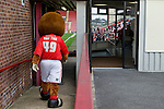 Barnsley 1 Millwall 0, 22/02/2014. Oakwell, Championship. Millwall make the journey from south London to South Yorkshire for a Championship relegation battle with Barnsley. Toby Tyke the Barnsley mascot makes his way into the stadium.  Photo by Simon Gill.