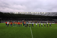 ATTENTION SPORTS PICTURE DESK<br /> Pictured: Swansea City players shake hands with players of Reading <br /> Re: Coca Cola Championship, Swansea City Football Club v Reading at the Liberty Stadium, Swansea, south Wales. Tuesday 18 August 2009<br /> Picture by D Legakis Photography / Athena Picture Agency, 24 Belgrave Court, Swansea, SA1 4PY, 07815441513