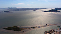 aerial photograph of Brooks Island, San Francisco Bay, California, five islands is San Francisco Bay are visible in this photograph including Angel Island, Treasure Island, Yerba Buena Island and Alcatraz