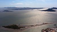 aerial photograph of Brooks Island, San Francisco Bay, California, five islands is San Francisco Bay are visible in this photograph including Angel Island, Treasure Island, Yerba Buena Island and Alcatraz