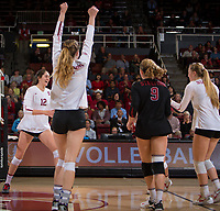 STANFORD, CA - November 15, 2017: Audriana Fitzmorris, Meghan McClure, Morgan Hentz, Jenna Gray at Maples Pavilion. The Stanford Cardinal defeated USC 3-0 to claim the Pac-12 conference title.