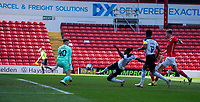 24th April 2021, Oakwell Stadium, Barnsley, Yorkshire, England; English Football League Championship Football, Barnsley FC versus Rotherham United; A shot on goal from Freddie Ladapo of Rotherham but he is denied by Bradley Collins of Barnsley