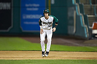 Blake Hunt (12) of the Fort Wayne TinCaps takes his lead off of first base against the Bowling Green Hot Rods at Parkview Field on August 20, 2019 in Fort Wayne, Indiana. The Hot Rods defeated the TinCaps 6-5. (Brian Westerholt/Four Seam Images)