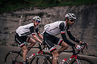 Laurens ten Dam (NED/Sunweb) & Chad Haga (USA/Sunweb) up the Passo di Sant'Antonio<br /> <br /> stage 15: Tolmezzo – Sappada (176 km)<br /> 101th Giro d'Italia 2018