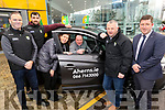 John Griffiin from Caherciveen winner of Kerry GAA car, collecting it in Ahern's Castleisland on Saturday. <br /> Front:  Eamon Whelan, Jack Sherwood, Mary and John Griffin, Tom Keane and Pat Ahern.