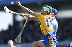 Aaron Shanagher of Clare in action against Eoghan O Donnell of Dublin during their National Hurling League game at Cusack Park. Photograph by John Kelly.