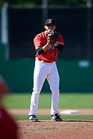 Batavia Muckdogs relief pitcher Alex Vesia (44) looks in for the sign during a game against the Auburn Doubledays on September 2, 2018 at Dwyer Stadium in Batavia, New York.  Batavia defeated Auburn 5-4.  (Mike Janes/Four Seam Images)