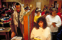 Jewish students in a school seperated by sex. People. Orthodox Jewish students. Maryland.