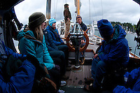Getting a Safety Talk from Captain Kevin on Orion, Anacortes, Washington, US, May 2012