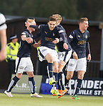 Luke Leahy scores for Falkirk and celebrates