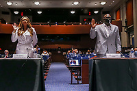 Lancaster (California) City Council member Angela Underwood Jacobs (L) and George FloydÌs brother Philonise Floyd (R) are sworn in during the House Judiciary Committee hearing on ÎPolicing Practices and Law Enforcement AccountabilityÌ at the US Capitol in Washington, DC, USA, 09 June 2020. The hearing comes after the death of George Floyd while in the custody of officers of the Minneapolis Police Department and the introduction of the Justice in Policing Act of 2020 in the US House of Representatives.<br /> Credit: Michael Reynolds / Pool via CNP/AdMedia