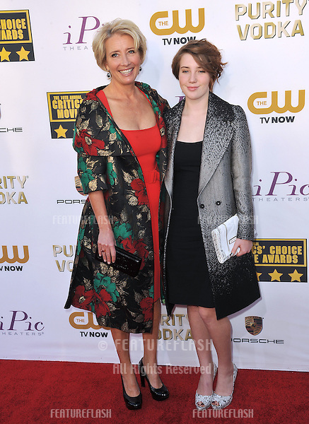 Emma Thompson & daughter Gaia Romilly Wise at the 19th Annual Critics' Choice Awards at The Barker Hangar, Santa Monica Airport.<br /> January 16, 2014  Santa Monica, CA<br /> Picture: Paul Smith / Featureflash