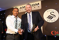 Pictured: Wayne Routledge receiving the goal of the season award Wednesday 20 May 2015<br /> Re: Swansea City FC Awards Dinner at the Liberty Stadium, south Wales, UK