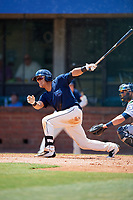 Mobile BayBears center fielder Michael Hermosillo (21) follows through on a swing during a game against the Pensacola Blue Wahoos on April 26, 2017 at Hank Aaron Stadium in Mobile, Alabama.  Pensacola defeated Mobile 5-3.  (Mike Janes/Four Seam Images)