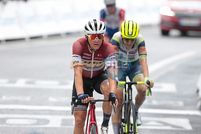 Latvian Champion Toms Skujins (LAT) Trek-Segafredo crosses the finish line at the end of Stage 16 of the 2021 Tour de France, running 169km from Pas de la Case to Saint-Gaudens, Andorra. 13th July 2021.  <br /> Picture: Colin Flockton | Cyclefile<br /> <br /> All photos usage must carry mandatory copyright credit (© Cyclefile | Colin Flockton)