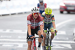 Latvian Champion Toms Skujins (LAT) Trek-Segafredo crosses the finish line at the end of Stage 16 of the 2021 Tour de France, running 169km from Pas de la Case to Saint-Gaudens, Andorra. 13th July 2021.  <br /> Picture: Colin Flockton   Cyclefile<br /> <br /> All photos usage must carry mandatory copyright credit (© Cyclefile   Colin Flockton)