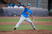 Myrtle Beach Pelicans starting pitcher Adam Laskey (24) in action against the Lynchburg Hillcats at Bank of the James Stadium on May 22, 2021 in Lynchburg, Virginia. (Brian Westerholt/Four Seam Images)