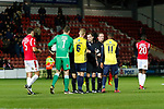Wrexham 2 Ebbsfleet United 0, 18/11/2017. The Racecourse Ground, National League. PLayers shake hands with officials at full time. Photo by Paul Thompson.