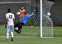NWA Democrat-Gazette/CHARLIE KAIJO Siloam Springs High School goalkeeper Wyatt Church (1) misses a shot resulting in a Russellville High School score during the Class 5A State Soccer Tournament championship, Friday, May 18, 2019 at Razorback Field in Fayetteville. Russellville High School defeated Siloam Springs 1-0