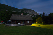 Franconia Notch State Park - Cannon Cliff, on the side of Cannon Mountain, from Lafayette Place in Lincoln, New Hampshire USA during the night.