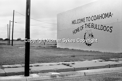 Welcome sign Coahoma Texas at entrance to small town America to1999 The Bulldogs are the local American football team 1990s USA