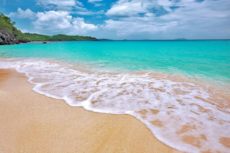 Trunk Beach with wave. St. John Island. US Virgin Islands. Virgin Islands National Park.