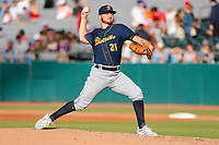 Montgomery Biscuits starting pitcher Paul Campbell (21) in action against the Tennessee Smokies in Double-A Southern League play at Smokies Stadium in Kodak, Tennessee, on Saturday, June 22, 2019. The Biscuits beat the Smokies 5-2. (Danny Parker/Four Seam Images)