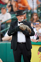 John Griffiths and Punxsutawney Phil before a game between the Rochester Red Wings and the Lehigh Valley IronPigs on June 29, 2018 at Frontier Field in Rochester, New York.  Lehigh Valley defeated Rochester 2-1.  (Mike Janes/Four Seam Images)