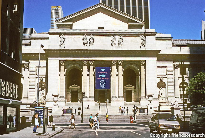 New York City: New York Public Library, Fifth Ave. between 40th & 42nd. Carrere & Hastings 1911. White marble cleaned and restored. Photo '91.