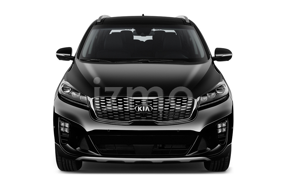 Car photography straight front view of a 2018 KIA Sorento GT Line 5 Door SUV