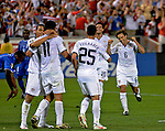 08 July 09: United States' players celebrate the second goal in their 2-0 win over Honduras at the CONCACAF Gold Cup at RFK Stadium in Washington, DC.
