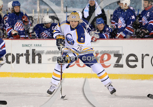 Andrew Peters (76) during The Frozen Frontier Buffalo Sabres vs. Rochester Amerks Alumni Game at Frontier Field on December 15, 2013 in Rochester, New York.  (Copyright Mike Janes Photography)