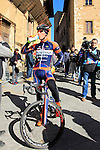 Iuri Filosi (ITA) Nippo-Vini Fantini before the start of the 2015 Strade Bianche Eroica Pro cycle race 200km over the white gravel roads from San Gimignano to Siena, Tuscany, Italy. 7th March 2015<br /> Photo: Eoin Clarke www.newsfile.ie