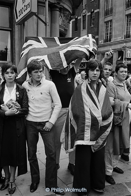 British Movement supporters heckle a Troops Out demonstration.  Trafalgar Square, London.